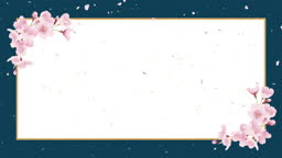 Cherry blossoms, shower of cherry blossoms. Japanese paper background, celebration image (blue colour)