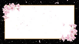 Cherry blossoms, shower of cherry blossoms. Japanese paper background, celebration image (no background color)