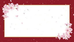 Cherry blossoms, shower of cherry blossoms. Japanese paper background, celebration image (red colour)
