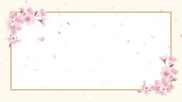 Cherry blossoms, shower of cherry blossoms. Japanese paper background, celebration image (ivory, cream colour)