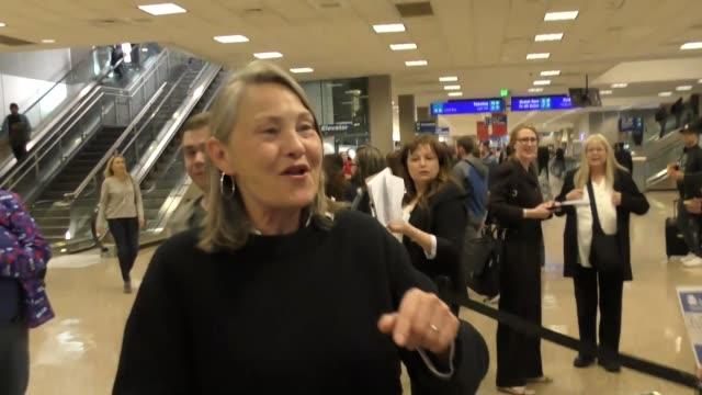 Cherry Jones arriving to the Sundance Film Festival at Salt Lake City Airport in Utah in Celebrity Sightings in Park City UT