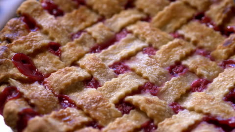 cherry pie with lattice crust close up, from above - homemade stock videos & royalty-free footage
