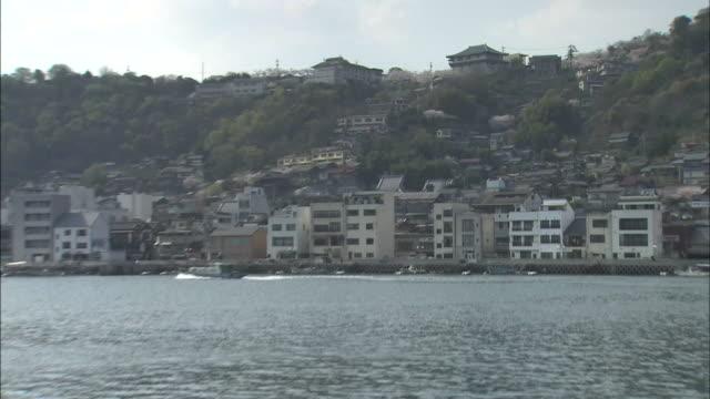 cherry trees blossom on a seto inland sea hillside at onomichi. - onomichi hiroshima stock videos and b-roll footage