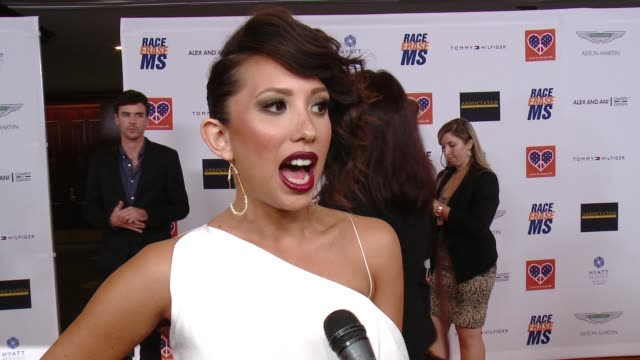 interview cheryl burke on being a part of the night if she'll catch up with her former dancing partner jack osbourne at the 22nd annual race to erase... - race to erase ms stock videos and b-roll footage