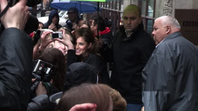 cheryl cole leaves bbc radio one after appearing on chris moyles' breakfast show. sighted: cheryl cole at bbc radio, central london on april 25, 2012... - bbc radio stock videos & royalty-free footage