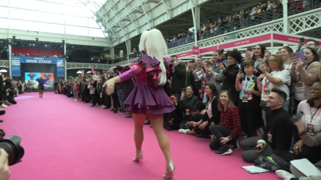 cheryl hole blu hydrangea charlie hides vinegar strokes miz cracker mariah balenciaga at rupaul's dragcon uk presented by world of wonder at olympia... - reality tv stock videos & royalty-free footage