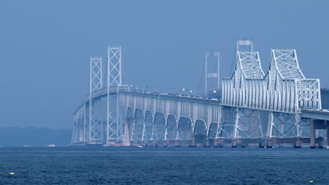 chesapeake bay bridge_pan1 hd (1080/29,97 - bay of water stock-videos und b-roll-filmmaterial