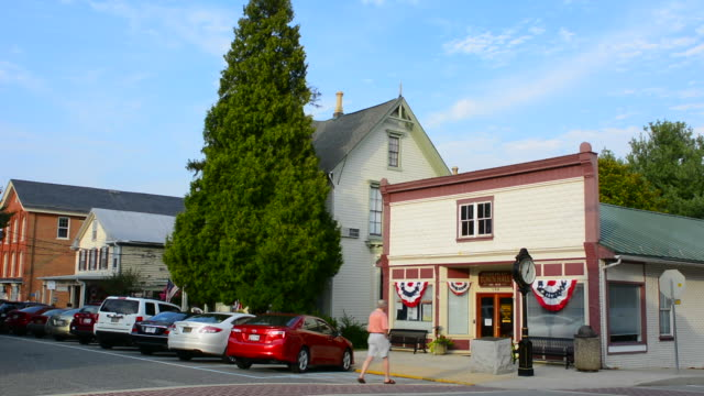 chesapeake city maryland bohemia avenue old town hall and buildings on the main street in the village - town hall government building stock videos & royalty-free footage