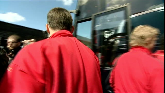 Cheshire Runcorn EXT Liverpool FC players including Jamie Carragher and Steven Gerrard boarding coach and Gerrard signing autographs for waiting fans...