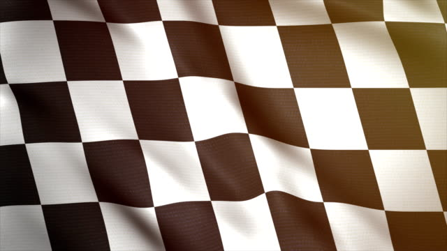 vídeos de stock e filmes b-roll de chess flag waving in wind 4k. sport car background. race start or finish. racing animated flag. - competição