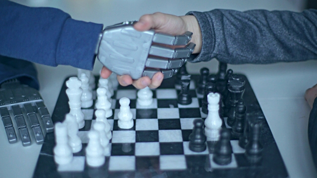 chess game with a robot. handshake - strategy stock videos & royalty-free footage