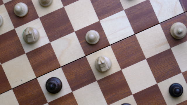4k chess online and strategy business concept from top view - scacchi video stock e b–roll