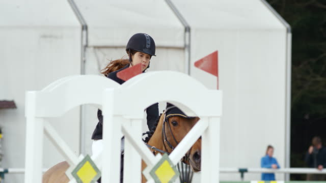 slo mo ds chestnut horse jumping an obstacle with it's female rider - 乗る点の映像素材/bロール