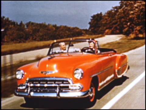 chevrolet promotes a rainbow of colors on its cars for 1952 the cars come in single colors and twotone combinations brighter gayer richer more... - chevrolet stock videos & royalty-free footage