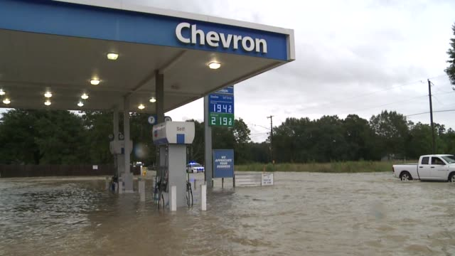 WGNO Chevron Gas Station PartiallySubmerged During Historic Louisiana Flooding near New Orleans on August 15 2016