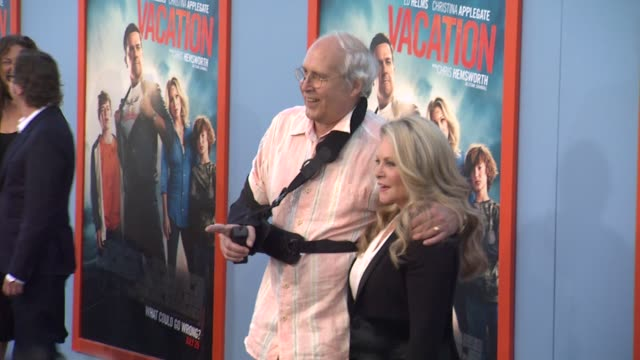 chevy chase and beverly d'angelo at the vacation los angeles premiere at regency village theatre on july 27 2015 in westwood california - regency village theater stock videos and b-roll footage