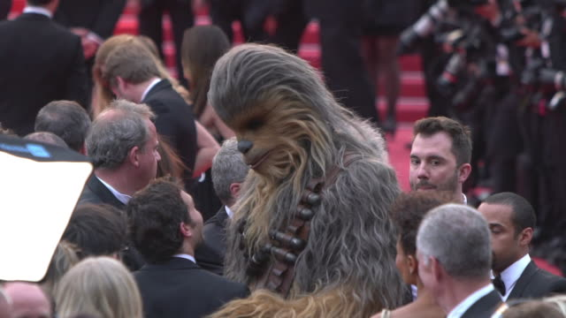 slomo chewbacca at 'solo a star wars story' red carpet arrivals the 71st annual cannes film festival at grand theatre lumiere on may 15 2018 in... - star wars stock videos & royalty-free footage