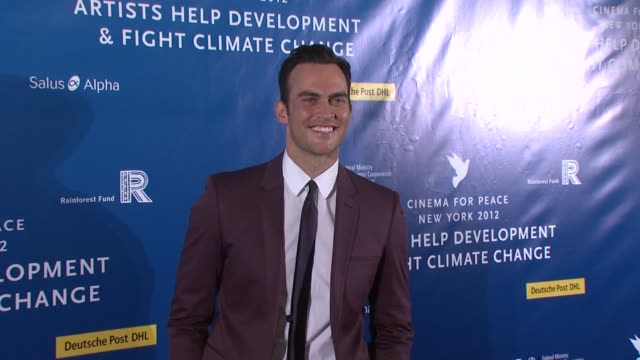 cheyenne jackson at cinema for peace new york 2012 gala honoring sting, trudie styler & the rainforest fund with 'green oscar' at the harvard club on... - trudie styler stock-videos und b-roll-filmmaterial