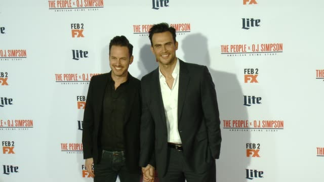 """cheyenne jackson at fx's """"the people v. o.j. simpson: american crime story"""" premiere at westwood village theatre on january 27, 2016 in westwood,... - westwood village stock videos & royalty-free footage"""