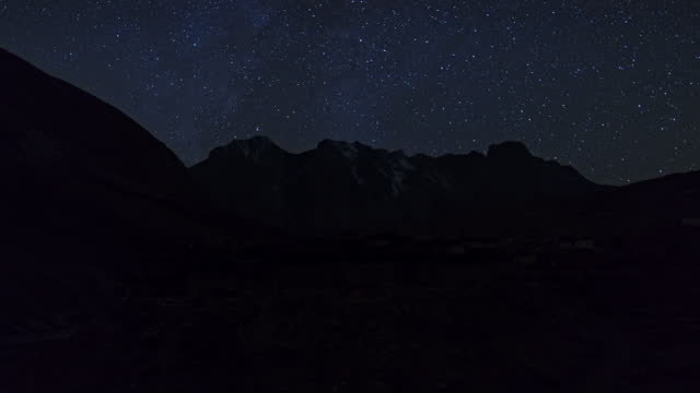 chharka bhot - night sky with stars / nepal - ridge stock videos & royalty-free footage