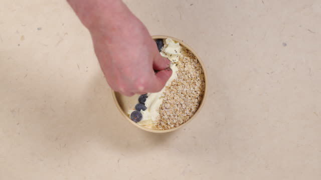 chia seeds on spicy kefir beverage. - oatmeal stock videos & royalty-free footage