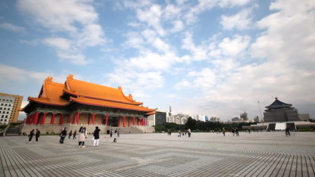 chiang kai shek (cks) memorial hall in taipei city - taipei stock videos & royalty-free footage