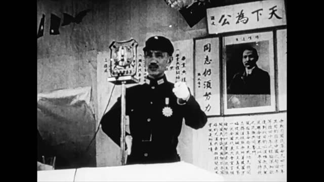 chiang kai-shek and other chinese leaders speaking to crowd and encouraging people to fight against japanese invadors - 1938 stock videos & royalty-free footage