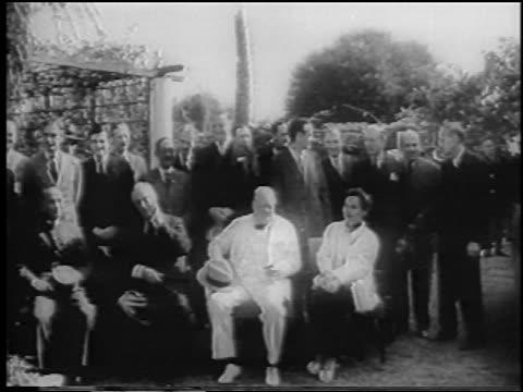 chiang kaishek franklin d roosevelt winston churchill sitting outdoors / cairo / news - chiang kai shek stock videos and b-roll footage