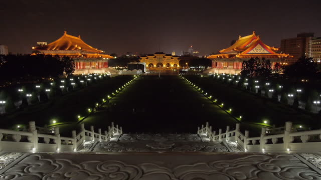 chiang kaishek memorial hall at night, taipei, taiwan - chiang kaishek memorial hall stock videos & royalty-free footage