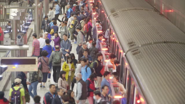 chiang kaishek subway station passengers - station stock videos & royalty-free footage