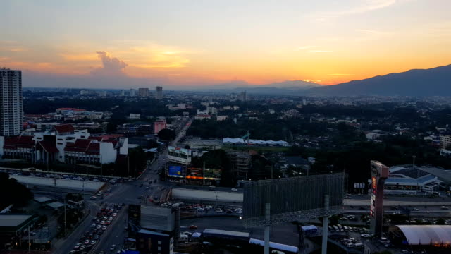 chiang mai city view with doi suthep mountain and road junction - chiang mai province stock videos & royalty-free footage