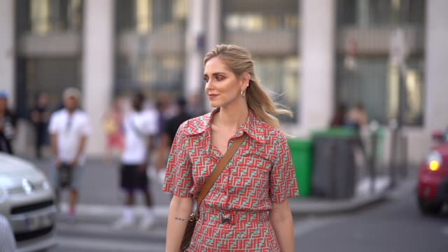 Chiara Ferragni wears a flower print colored dress golden boots outside Fendi during Paris Fashion Week Haute Couture Fall Winter 2018/2019 on July 4...
