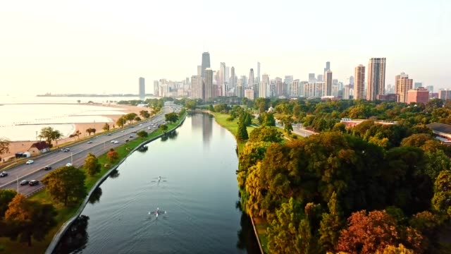chicago aerial view over the lake - antenna aerial stock videos & royalty-free footage