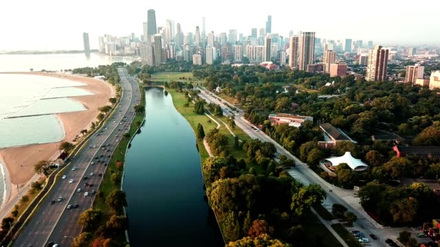chicago aerial view over the lake