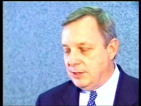 chicago airport security scare itn senator dick durbin interview sot if this person had not carried bag to the plane and instead had distributed the... - dick durbin stock videos & royalty-free footage