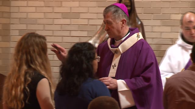 WGN Chicago Archbishop Blase Cupich Mark Sign of the Cross on Catholics' Foreheads on Ash Wednesday in Chicago on February 10 2016