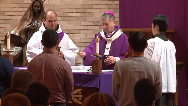 WGN Chicago Archbishop Blase Cupich Sprinkles Ashes With Holy Water on Ash Wednesday in Chicago on February 10 2016