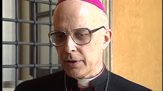 chicago archbishop francis george later raised to cardinal speaks about his meeting with pope john paul ii at st peter's basilica on june 29 1997 in... - cardinal clergy stock videos and b-roll footage