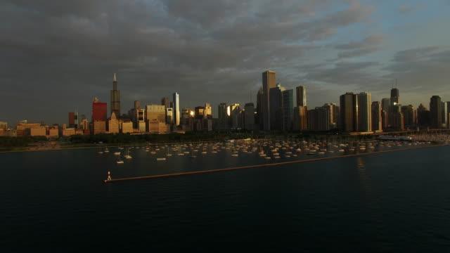 Chicago at Dawn with Lake Michigan