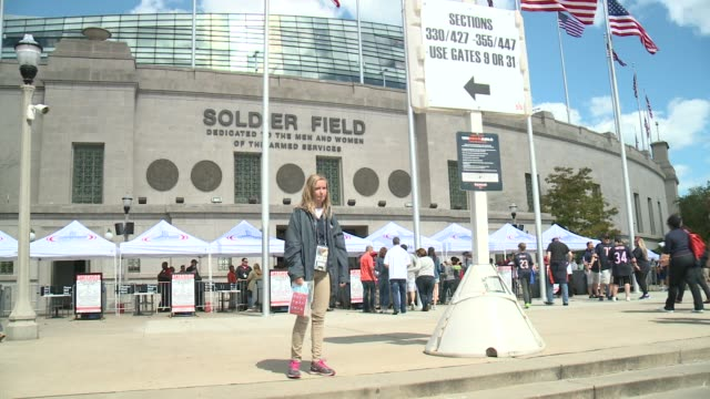 WGN Chicago Bears Fans Enter Soldier Field on September 13 2015