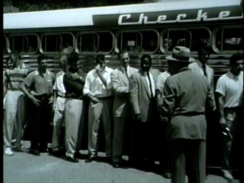 chicago bears get on a bus to leave for training camp in the summer of 1954 - 1954 stock videos & royalty-free footage