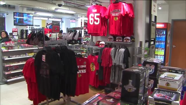 WGN Chicago Blackhawks Gear And Merchandise In Various Stores during the 2015 Stanley Cup Finals on June 15 2015