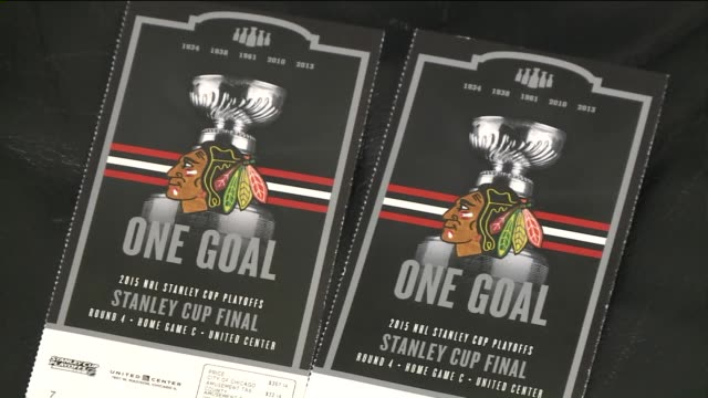 WGN Chicago Blackhawks Tickets and Ticket Sales Store Front during the 2015 Stanley Cup Finals before game six on June 15 2015