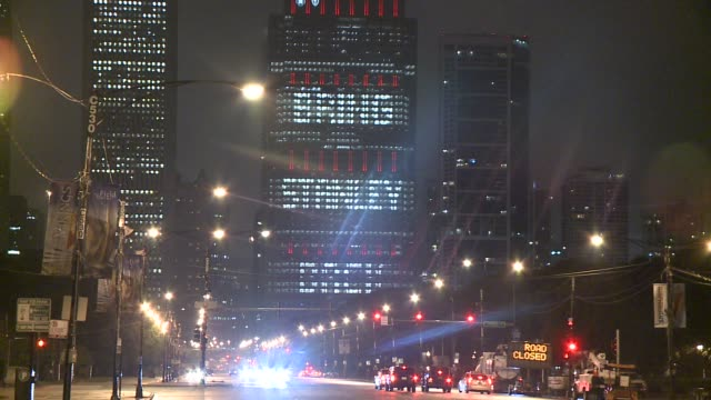 WGN Chicago Building With 'Bring Stanley Back' Lights on the night the Blackhawks won the Stanley Cup on June 15 2015 in Chicago Illinois