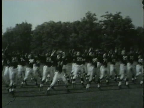 vidéos et rushes de chicago cardinals football team at practice in 1953. - nfc