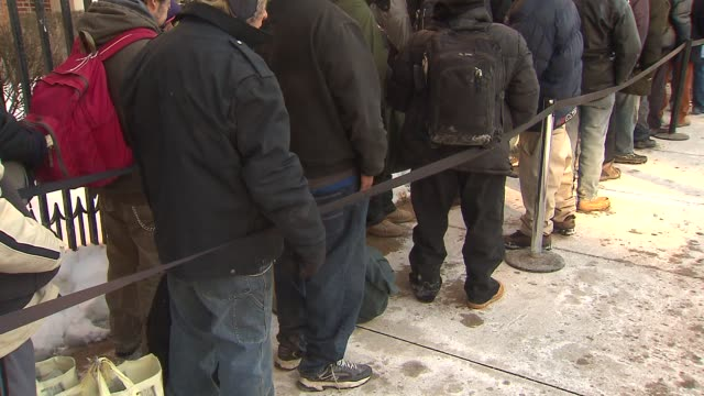 chicago catholic charities opened their doors to the homeless and served as a warming center food bank and provided clothing on february 10 2014 in... - homeless shelter stock videos & royalty-free footage