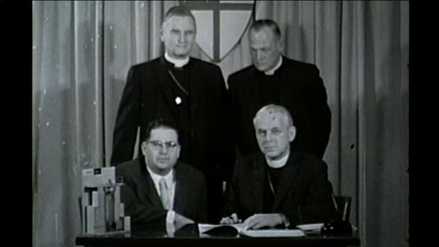 chicago church leaders signing an agreement in 1960 - catholicism stock videos & royalty-free footage