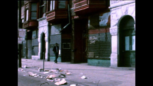 chicago city contrasting gvs and ghetto street; 1971 - black history in the us stock videos & royalty-free footage
