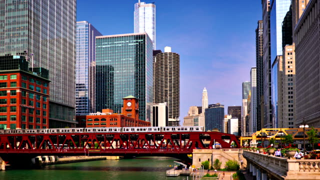chicago cityscape - chicago 'l' stock videos and b-roll footage