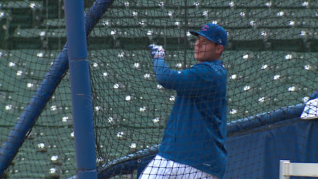 wgn chicago cubs anthony rizzo at batting practice at wrigley field on oct 3 2017 - batting stock videos & royalty-free footage